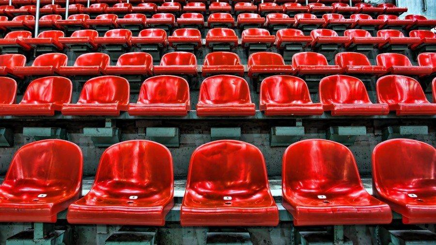 Stadium seats red spectators